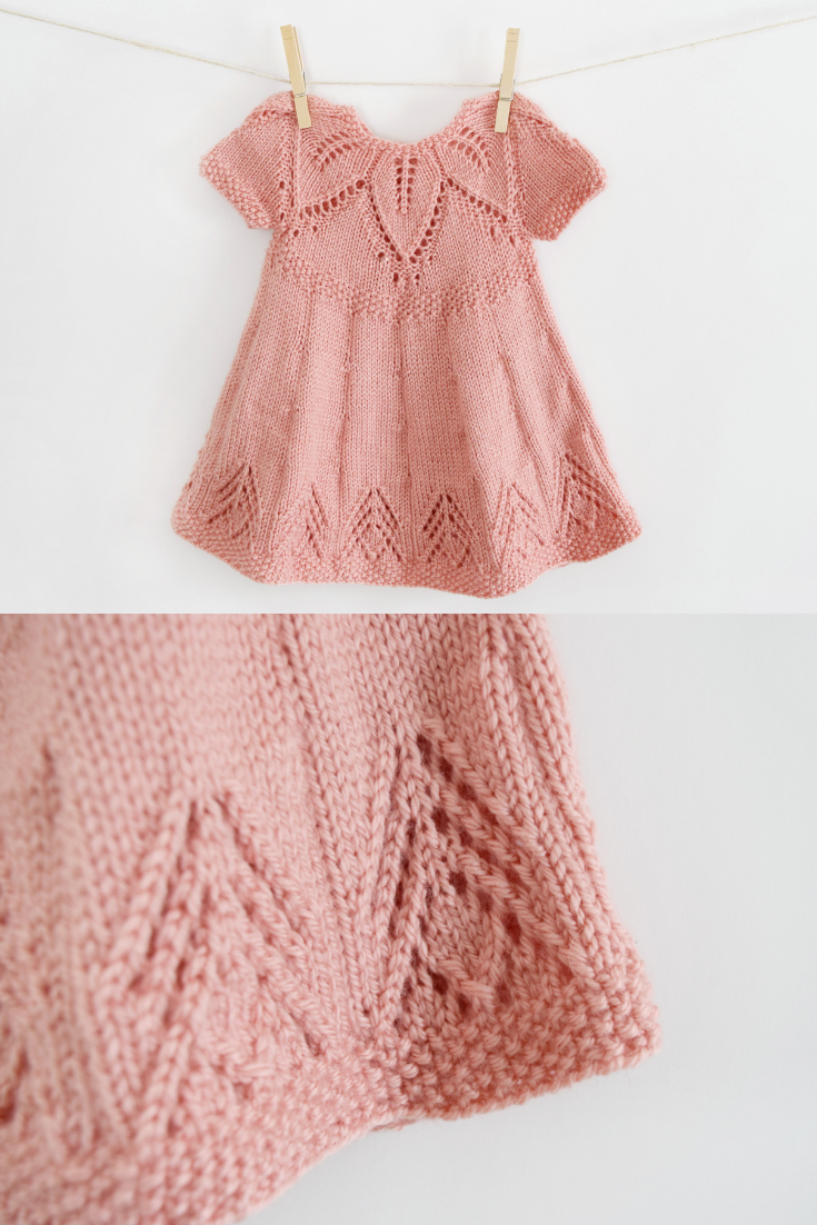 Free Knitting Pattern - Fairy Leaves Knit Dress from Yarnspirations