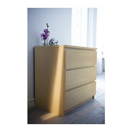 Kommode ikea birke  MALM Chest of 3 drawers Oak veneer 80x78 cm