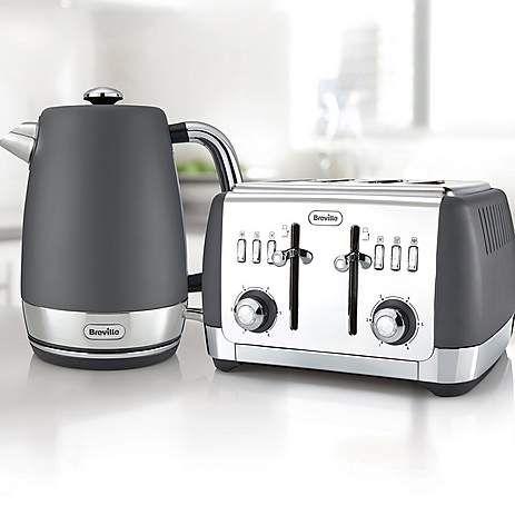 Breville VTT764 Strata Collection Grey 4 Slice Toaster | Dunelm