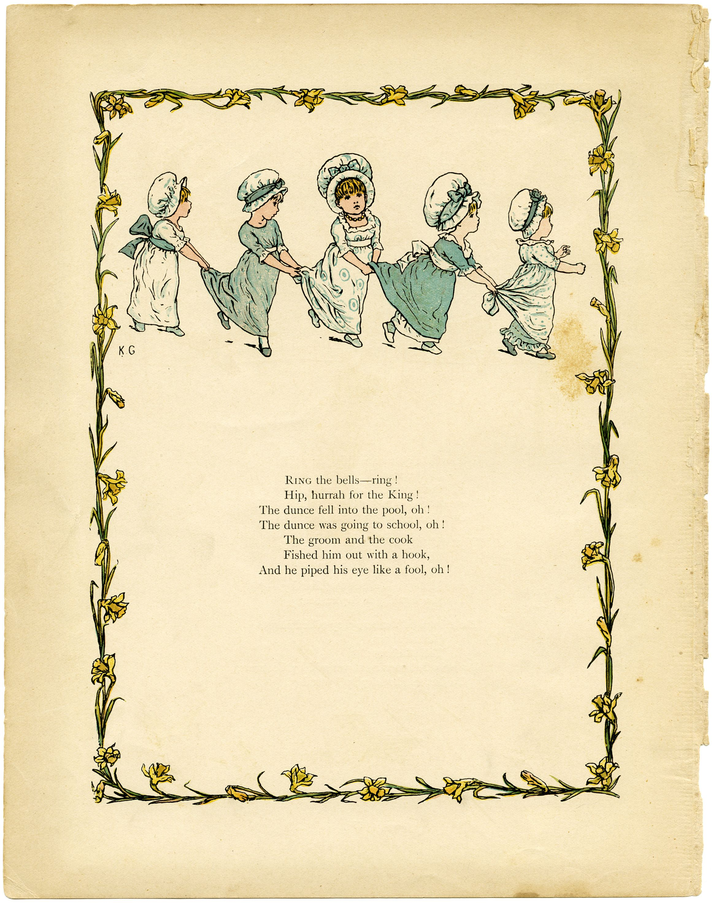 Old Design Shop Free Printable Kate Greenaway Under The Window Vintage Illustrated Book Page