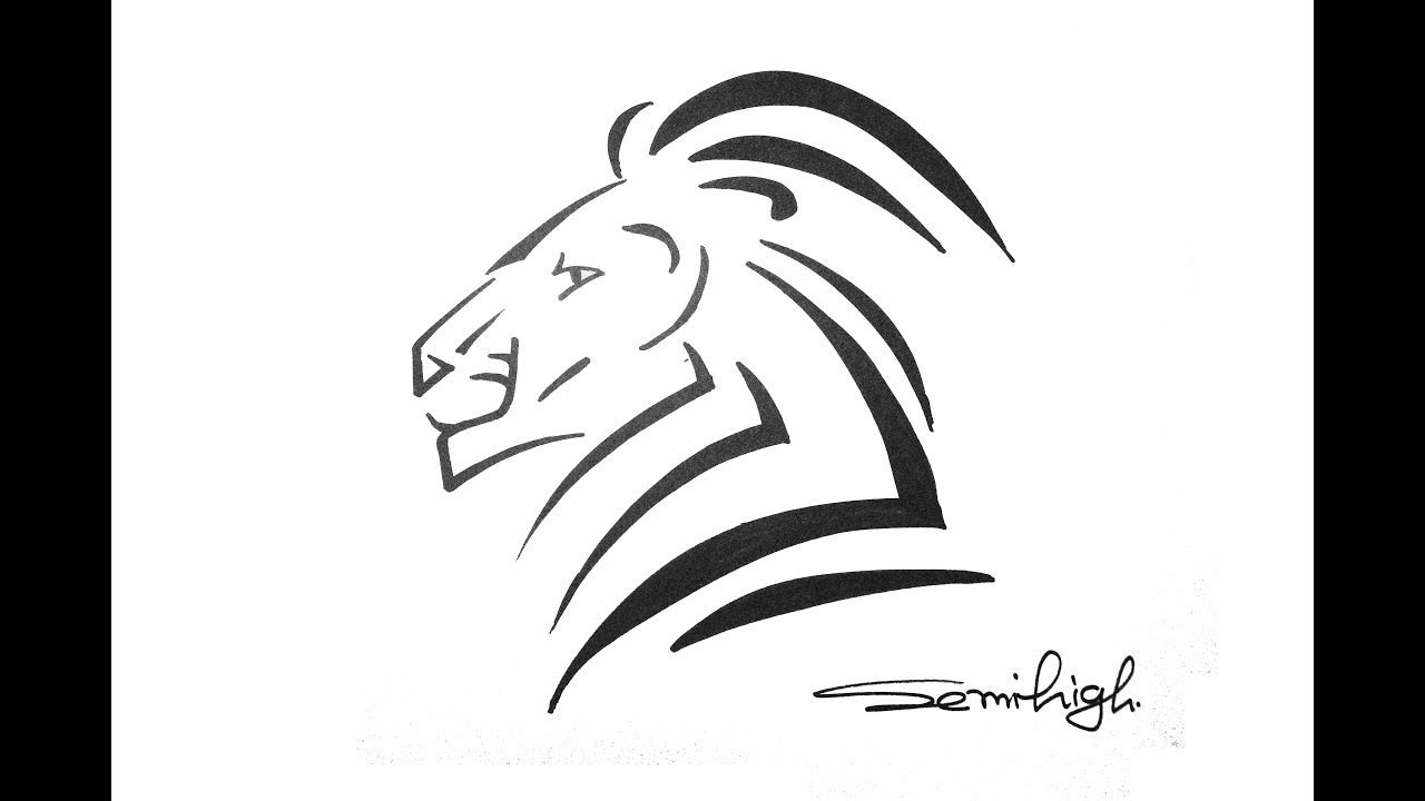 How To Draw Tribal Lion Head Tattoo Easy Drawing For Beginners Tribal Drawings Drawing For Beginners Lion Head Tattoos