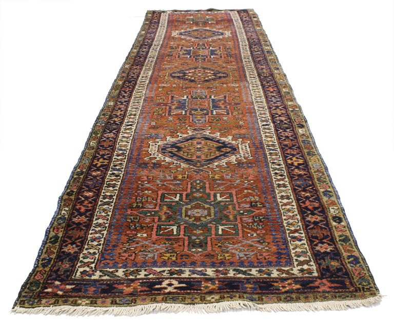 Antique Persian Karaja Heriz Runner, Tribal Style Hallway Runner
