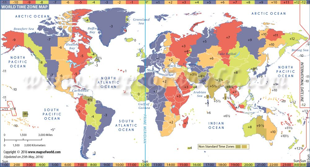 World Map With Time Zones Printable