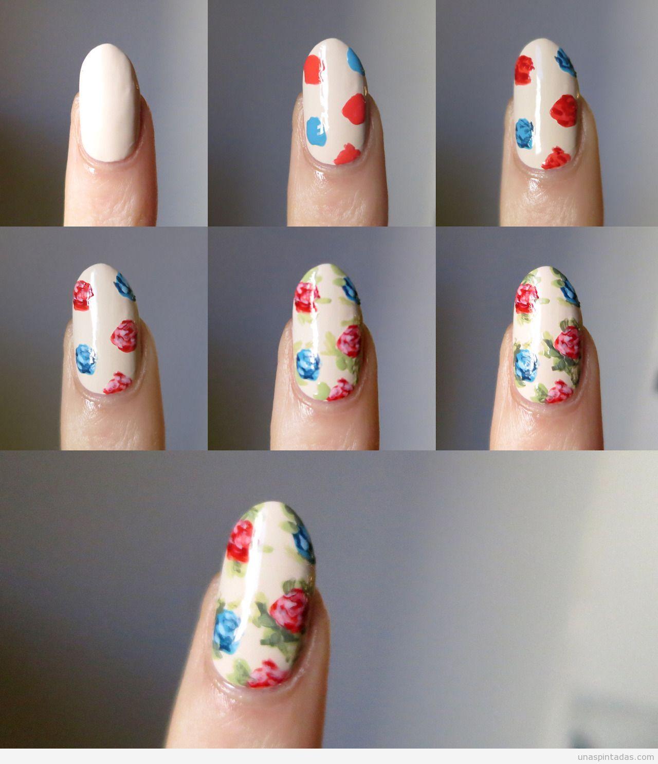 Tutorial aprender a hacer Nail Art rosas fácil | diseños de uñas ...