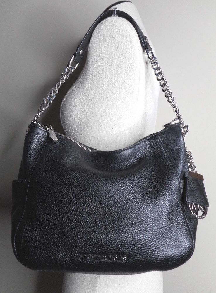 c9892c9a88a9 MICHAEL KORS Jet Set soft black pebbled leather hobo shoulder bag purse EUC
