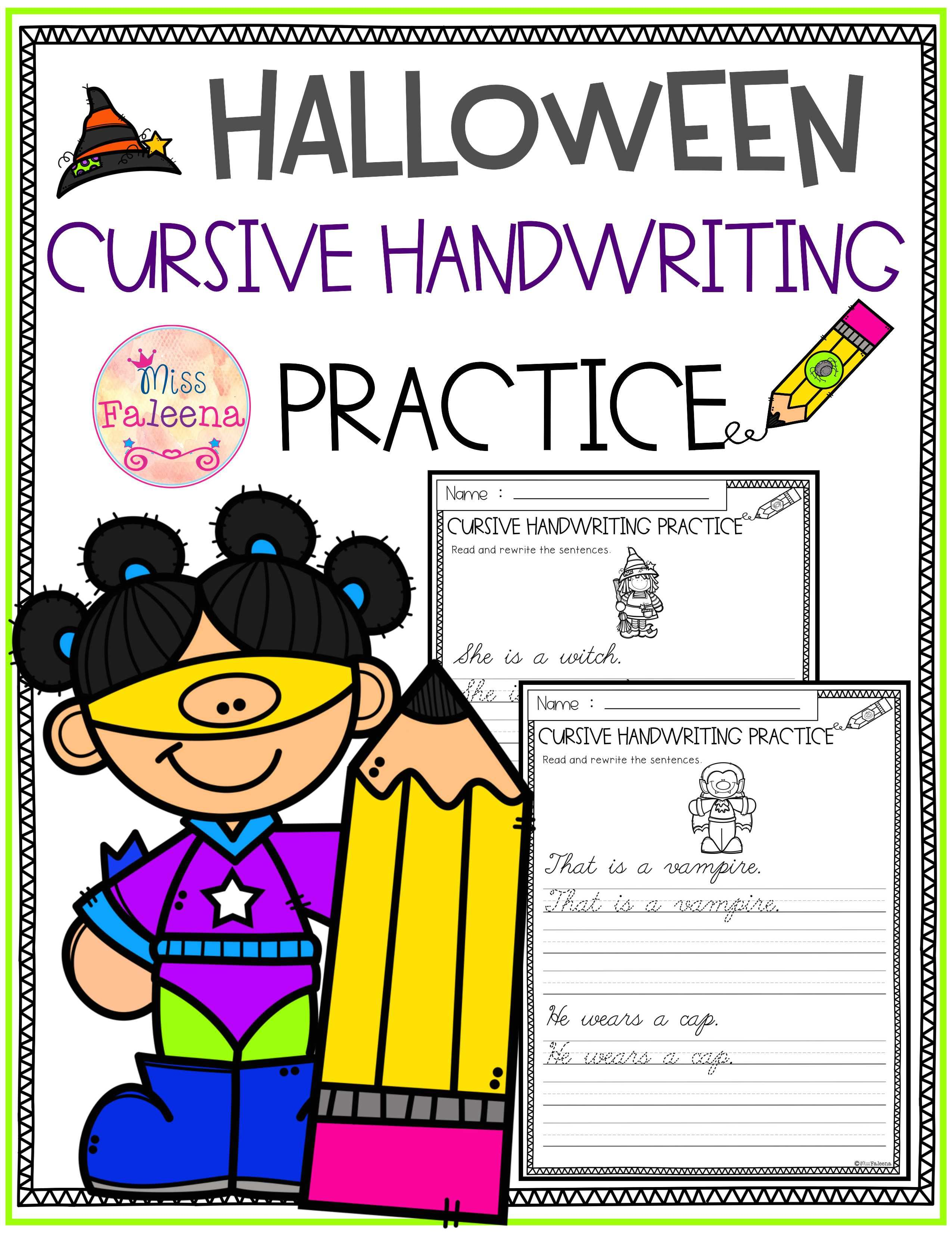 Halloween Cursive Handwriting This Product Has 20 Pages Of Handwriting Worksheets This Pro Cursive Handwriting Practice Handwriting Practice Reading Writing [ 3300 x 2550 Pixel ]