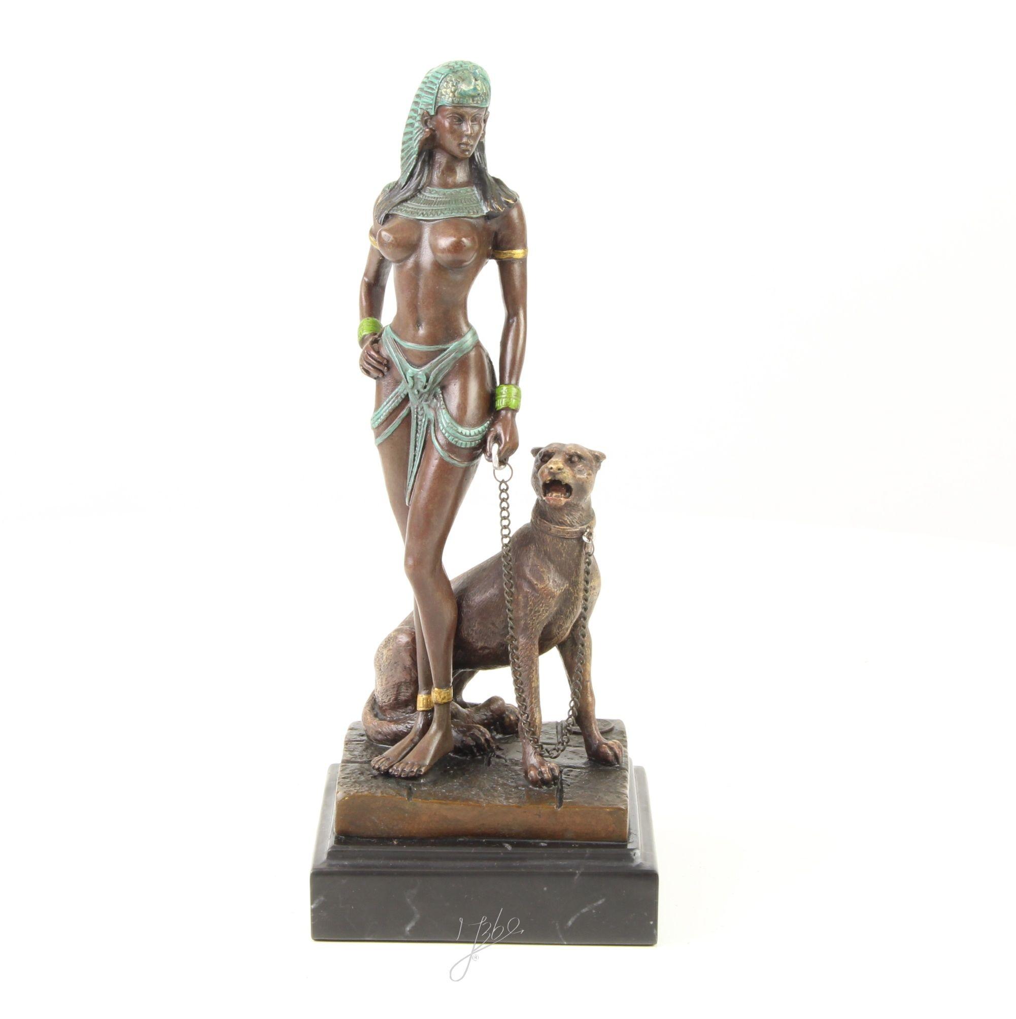 Bronzeskulptur Katze im Antik-Stil Bronze Figur Statue 26cm