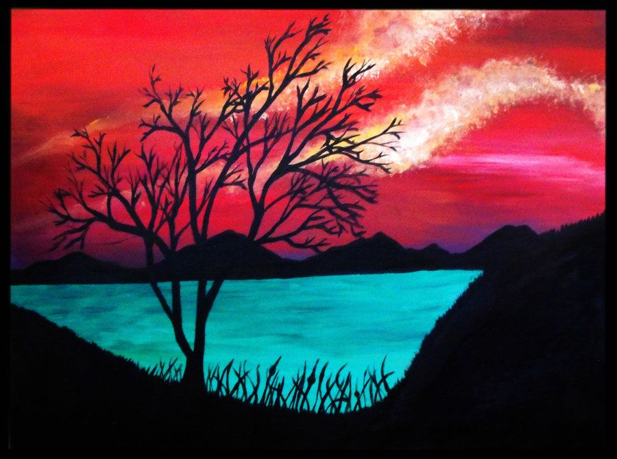 Trees In Sunset Acrylic Painting