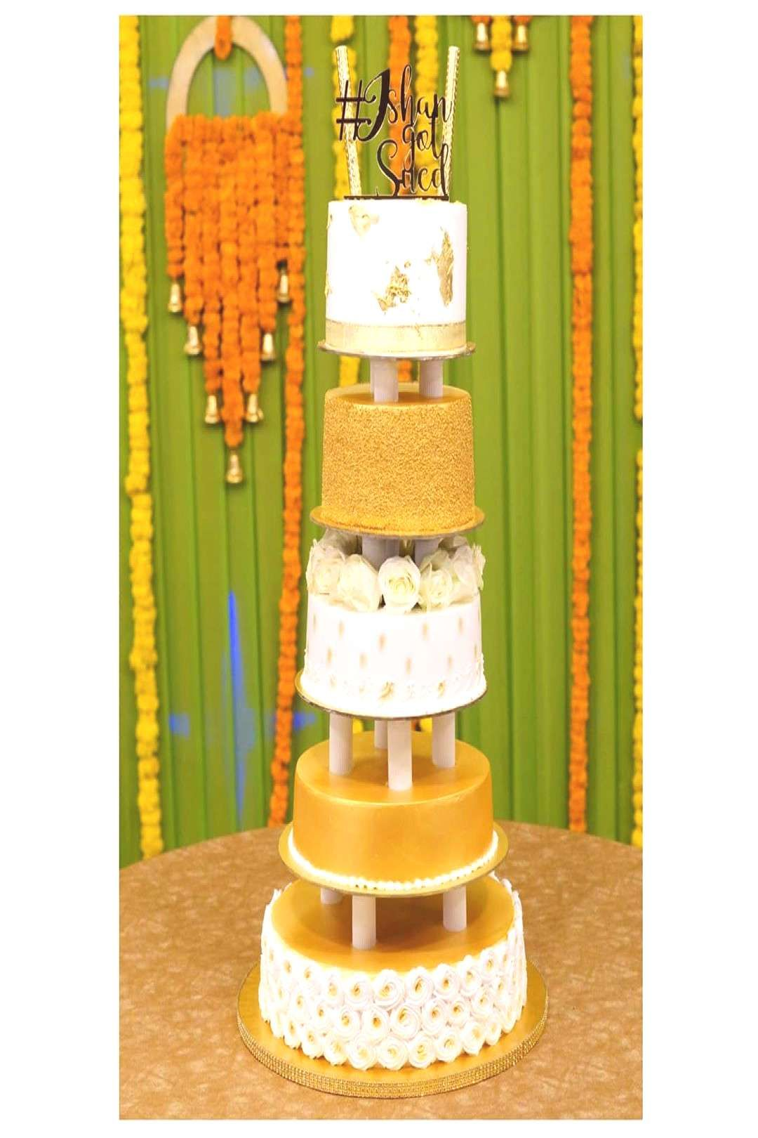 #golden #beauty #pillar #indoor #heres #white #tier #cake #made #our #in #a #5 #d Here's our beauty . A 5 tier golden white pillar cake made in 5 dYou can find Wedding cakes and more on our website.Here's our beauty . A 5 tier gol...