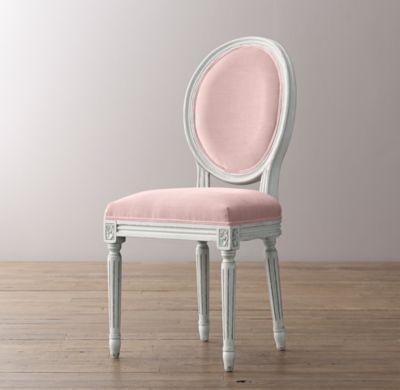 Mini Vintage French Velvet Chair   Aged White