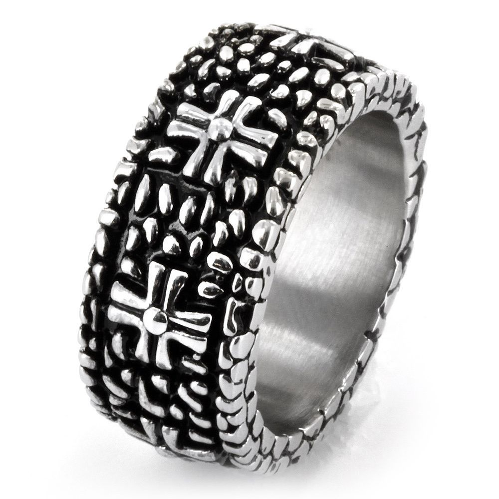 West Coast Jewelry Stainless Steel Pebbles and Crosses Ring