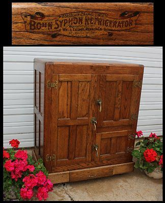 1904 Antique Bohn Syphon Porcelain Lined 3 Door Oak Icebox Original Hardware Old Antique Ice Box Antiques Oak