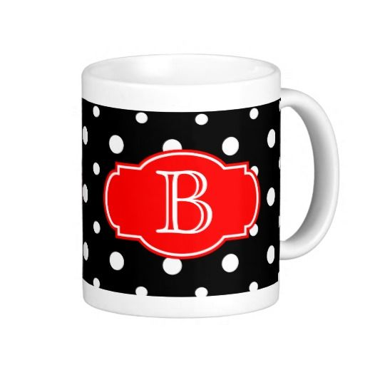 Bold Modern Coffee Mug; Black & White Polka Dots w/ Red, Personalize ...