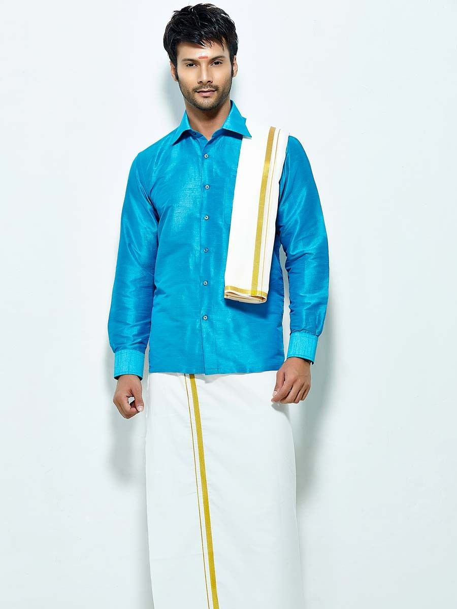 Conspicuous sky blue color raw silk shirt comes with white color ...
