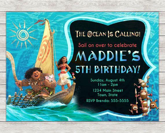 Moana Birthday Invitation Maui Invite Printable File Or