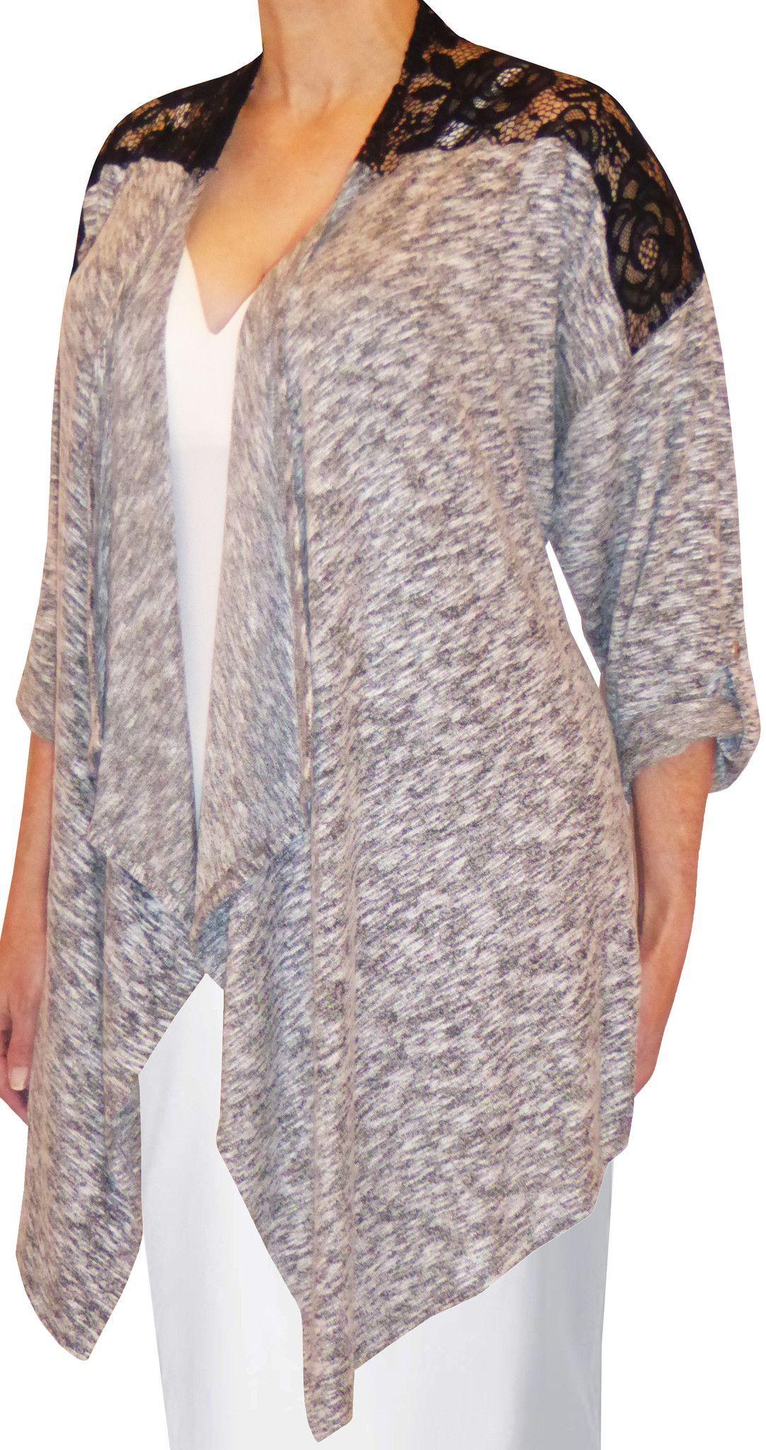 Funfash Plus Size Clothing Gray Black Lace Women's Cardigan ...