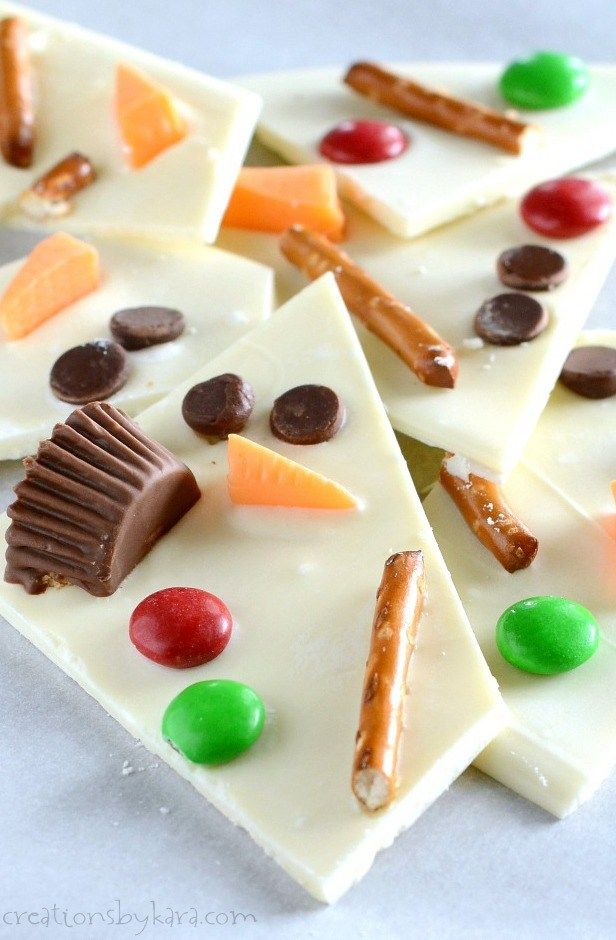 Make Winter Melted Snowman Bark Easy Christmas Candy Recipes