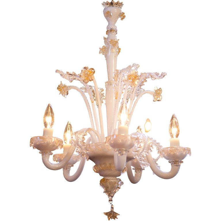 Vintage Milkglass Murano Chandelier with Gold Accents - Vintage Milkglass Murano Chandelier With Gold Accents Oro Bianco