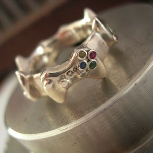 Beautiful Custom Xbox Controller Eternity Ring Gamer Wedding Geek Wedding Nerdy Wedding