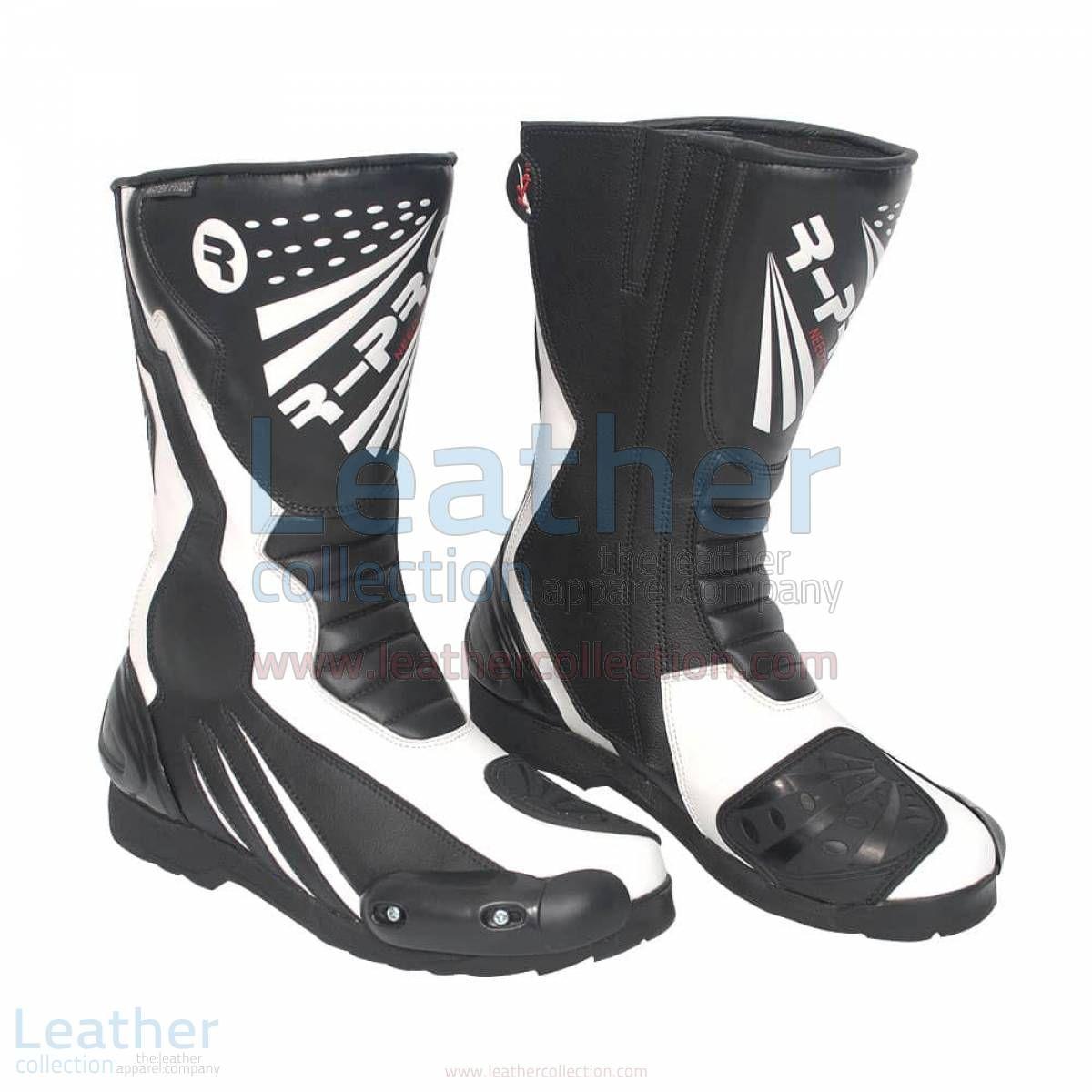 legend cuir bottes de moto noir et blanc sont le mélange idéal