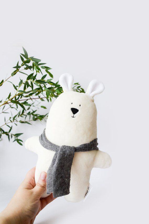 Items similar to Soft Xmas Teddy, Cream white plush bear toy, Stuffed winter animal, Baby Christmas gift, Newborn toy Bear, Season gift Bear, Kids room decor on Etsy #beartoy