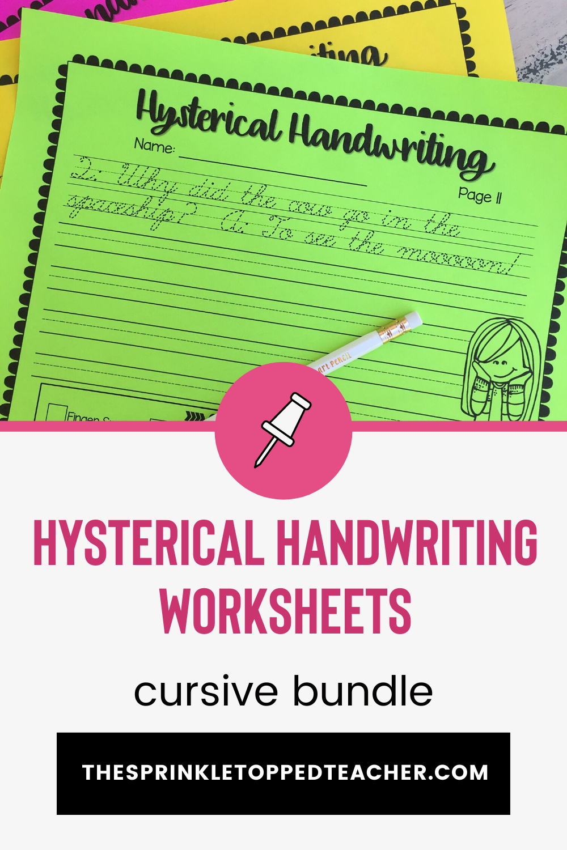 Hysterical Handwriting Worksheets Cursive Bundle Elementary Reading Activities Elementary Reading Handwriting Worksheets [ 1500 x 1000 Pixel ]