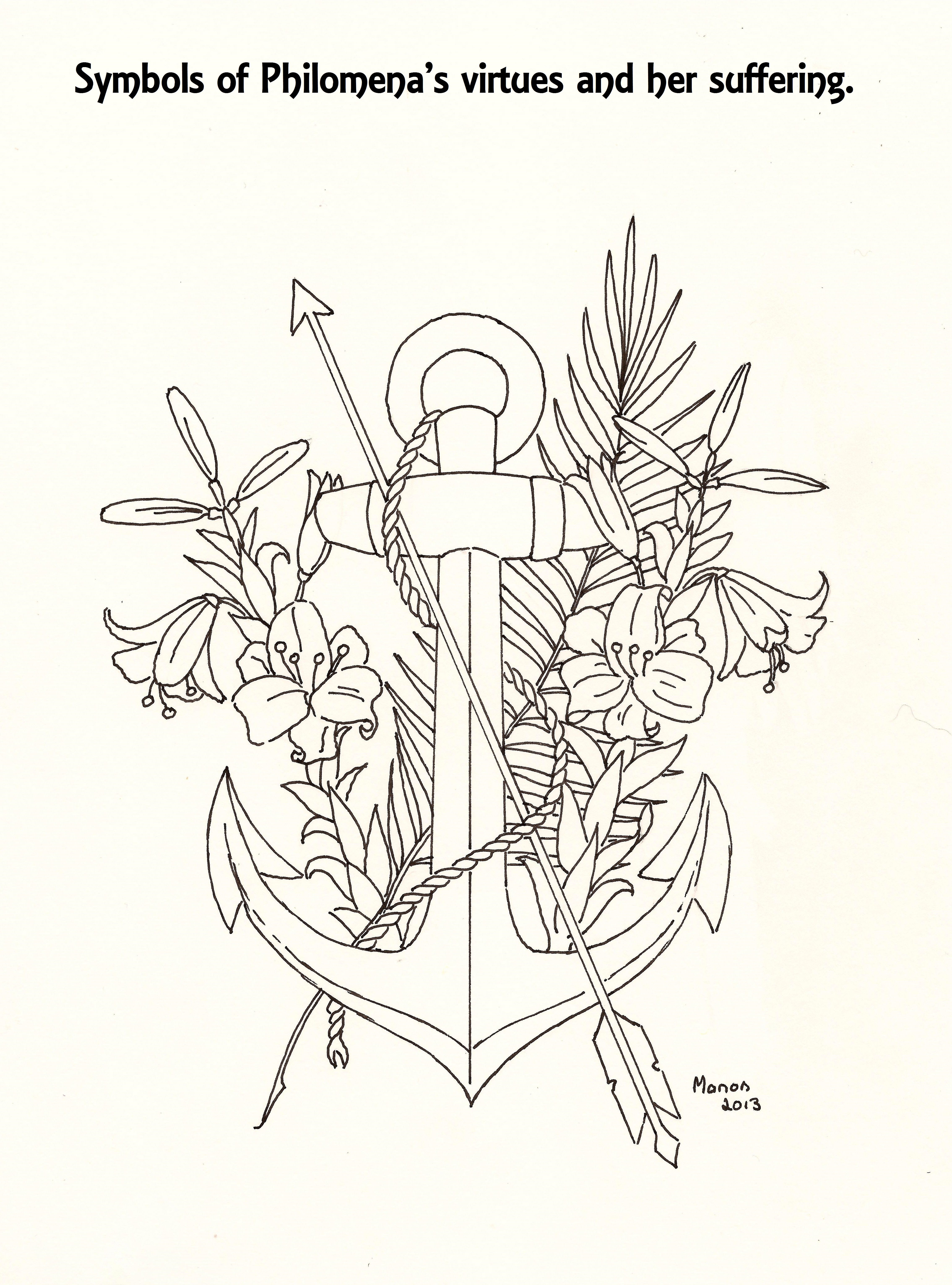 A Picture To Colour Symbols Of St Philomena Manondanielsmassari