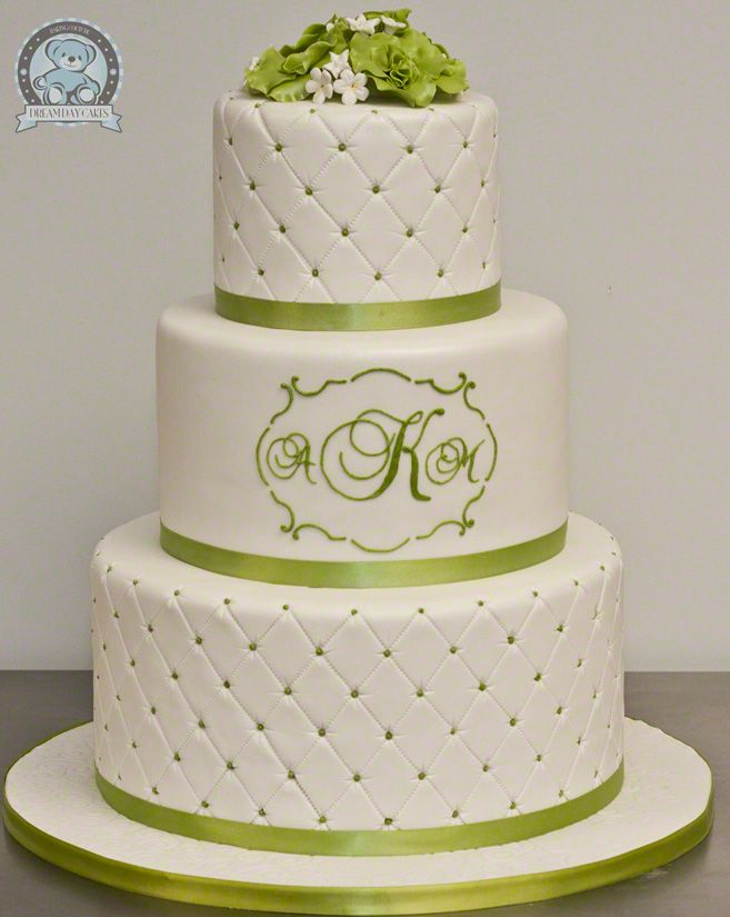 Green and white wedding cakes pictures