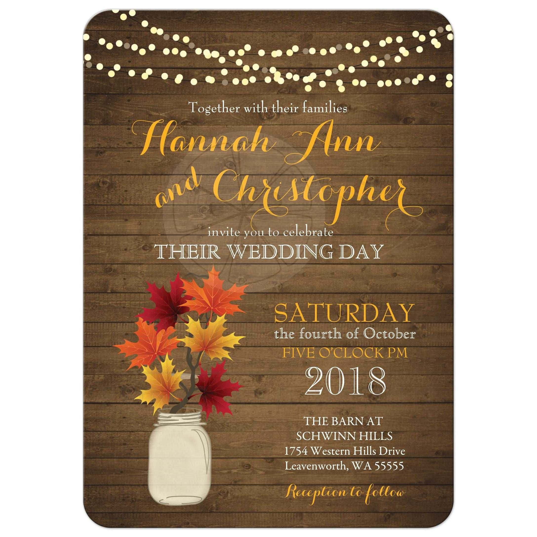 Rustic Country Fall Wedding Invitations Featuring A Rustic Mason