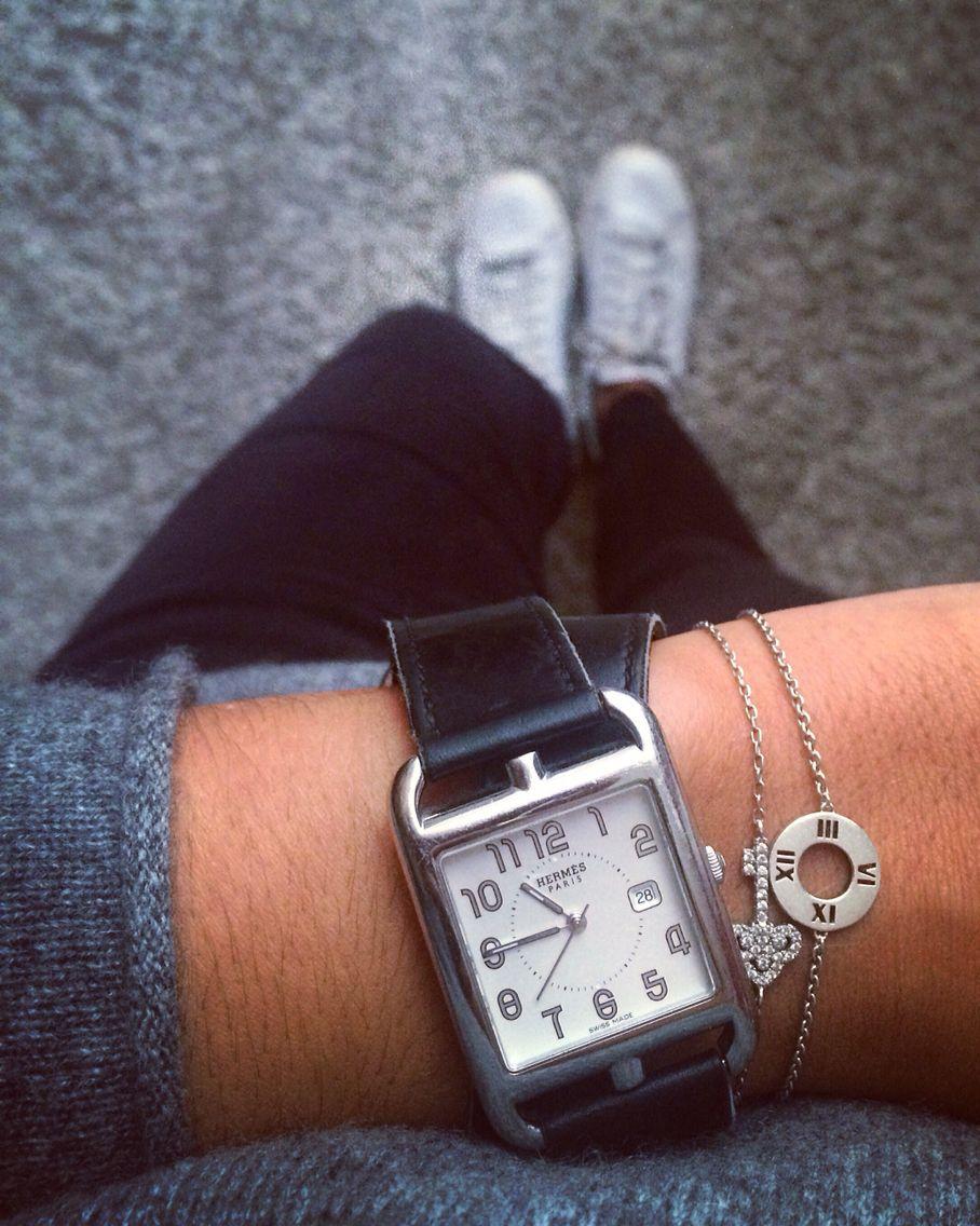 cheap for discount d43a5 84d2d Hermes cape cod watch, black leather bracelet => www ...