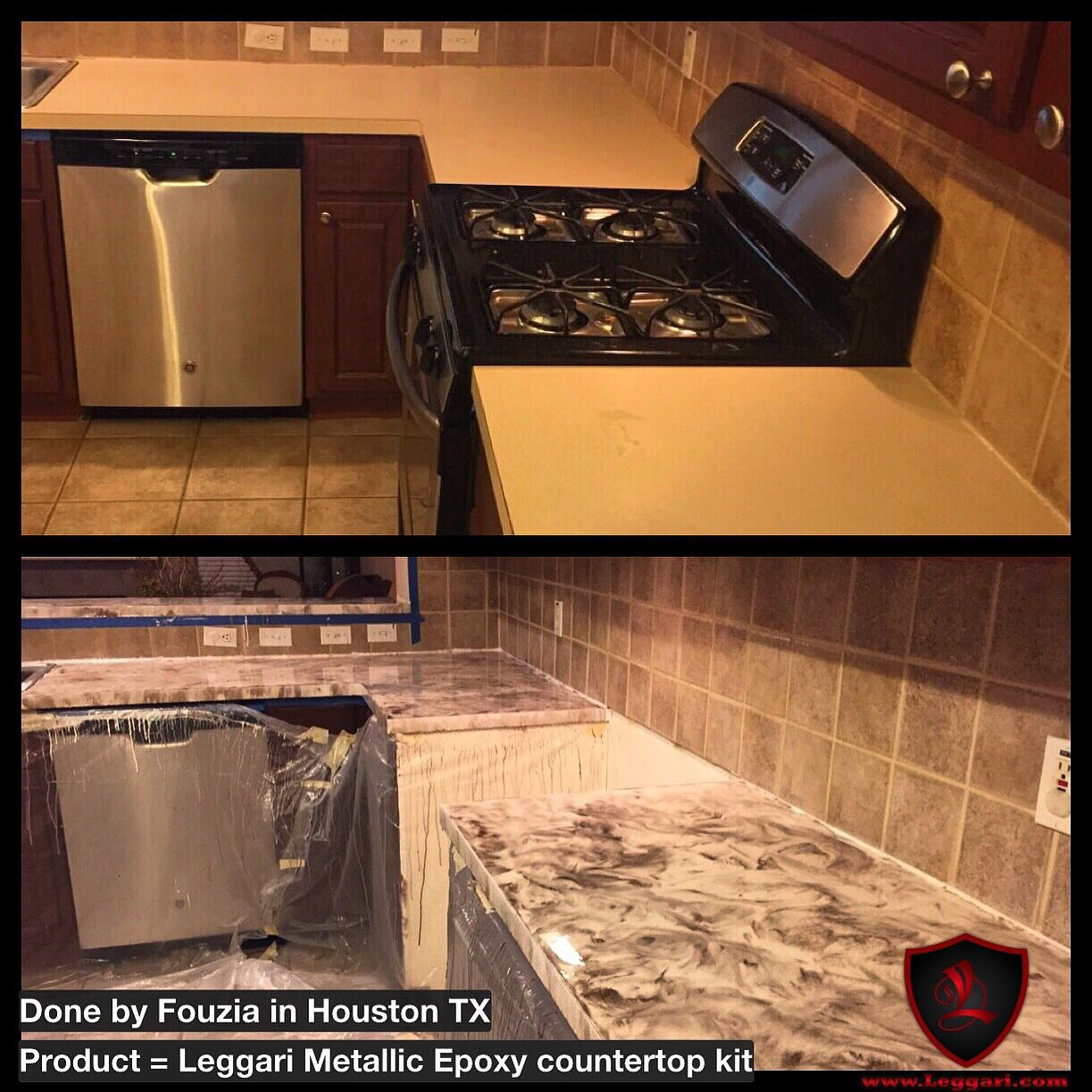 This Countertop Was Coated With A Leggari Products Diy Metallic Epoxy Countertop Resurfacing Kit The Kits S Epoxy Countertop Resurface Countertops Countertops