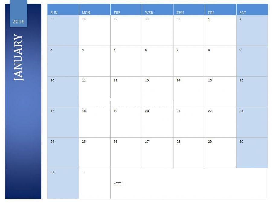 January 2016 Calendar Excel • Printable Calendar Template