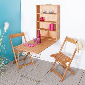 Salon Pour Balcon Mural 2 Places Avec Rangement En Acacia Fsc Tapoty En Solde Parement Mural Table Et Chaises Deco Balcon