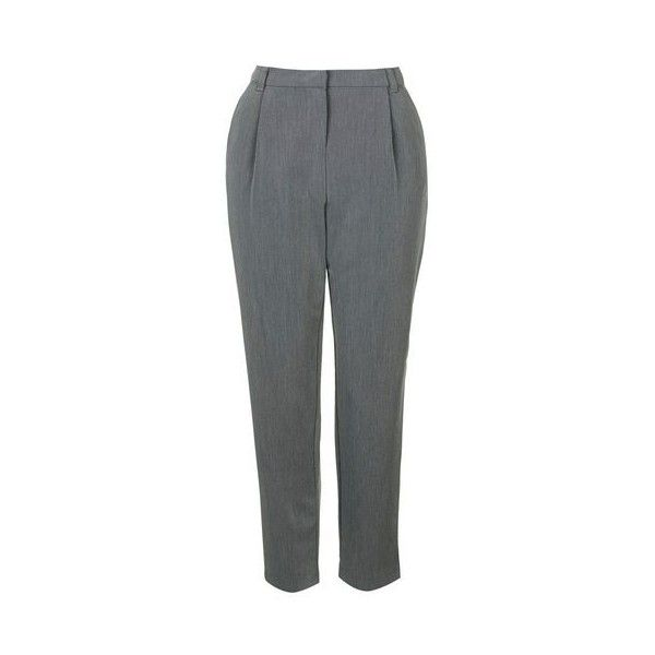 TopShop Tapered Trouser (51 AUD) ❤ liked on Polyvore featuring pants, grey, tapered pants, topshop, topshop pants, grey pants and gray pants