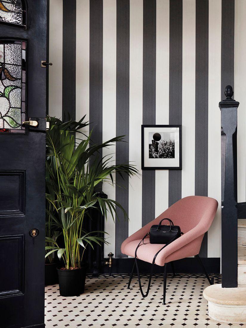 Cole & Son Jaspe Stripe Wallpaper, 110/4025, Black/White