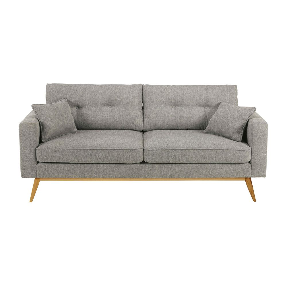 Contemporary Grey Couch Perfect For A Modern Living Room | 3-seater Light  Grey Fabric