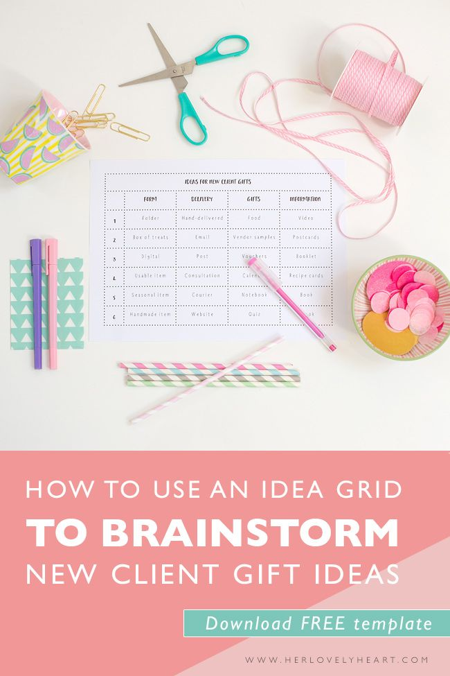 How to use an idea grid to brainstorm new client gifts Gift - new business client information template