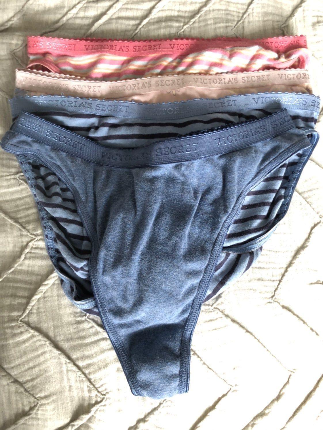 2 Victoria/'s Secret VINTAGE 100/% Cotton Signature V-String Thong Panty SMALL