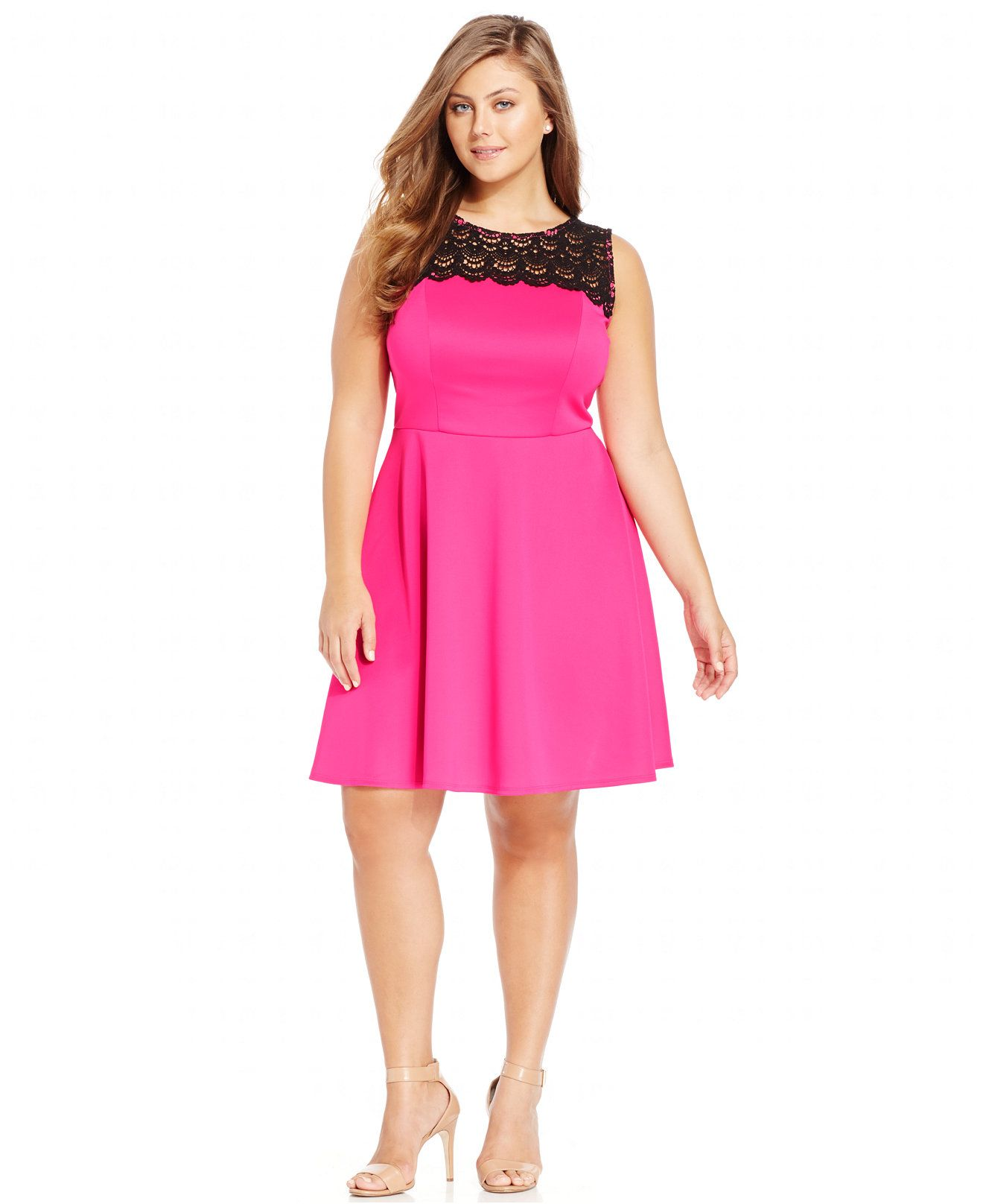 Trixxi Plus Size Lace Illusion A-Line Dress - Dresses - Plus Sizes ...