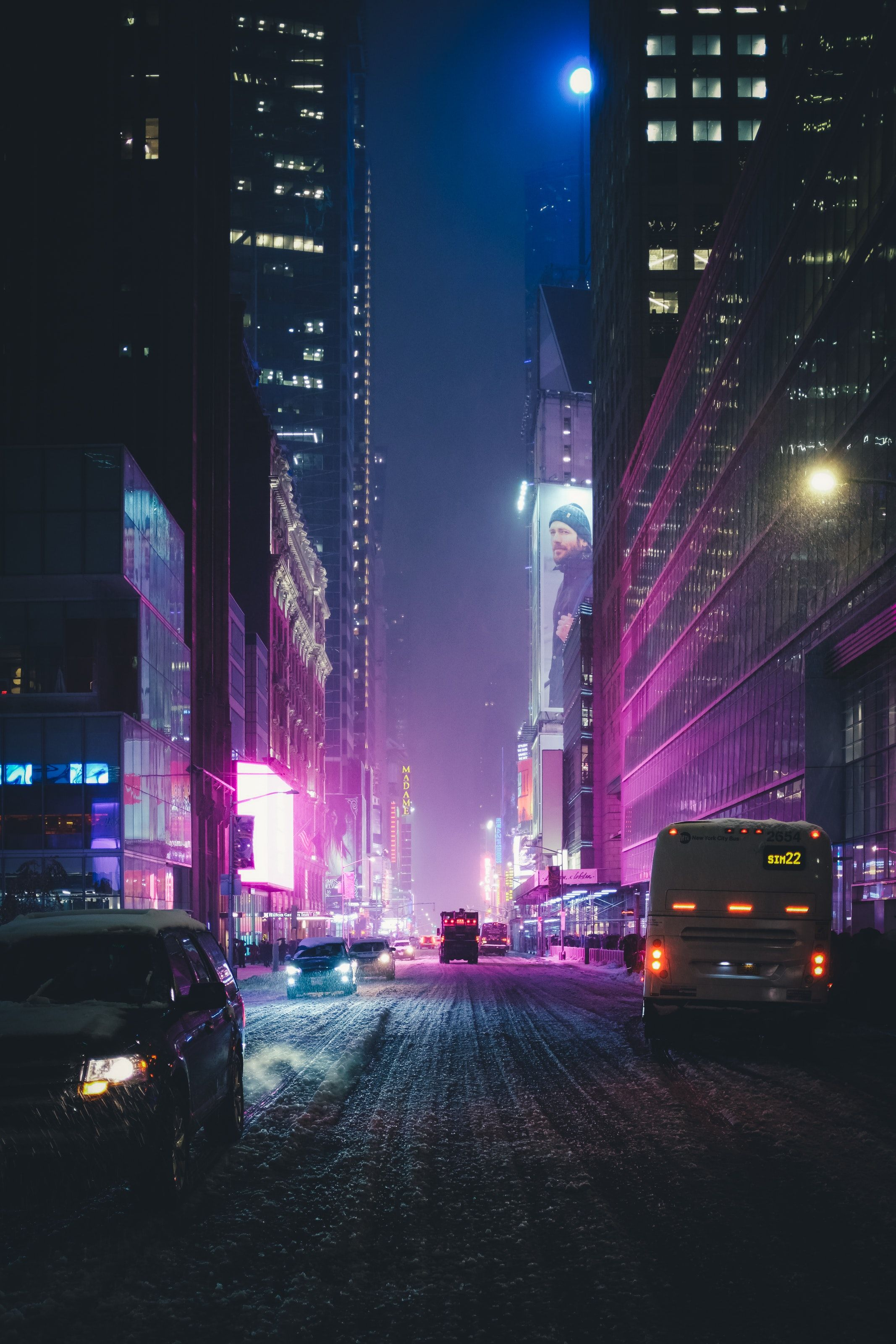 Neon New York Under The Snow Photo By Stephan Valentin Valentinsteph On Unsplash Neon Photography City Wallpaper Neon Wallpaper