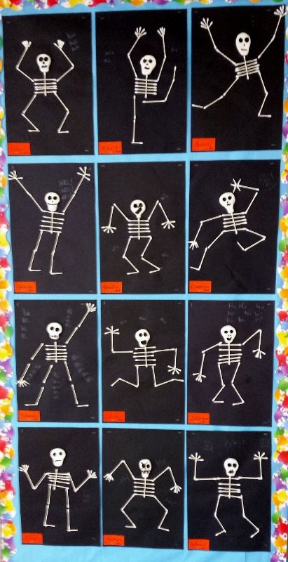 Our 3rd grade project was based off skeleton hiccups by for Q tip skeleton craft template