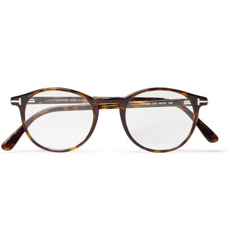 023993ac60f Tom Ford Round-Frame Tortoiseshell Acetate Optical Glasses