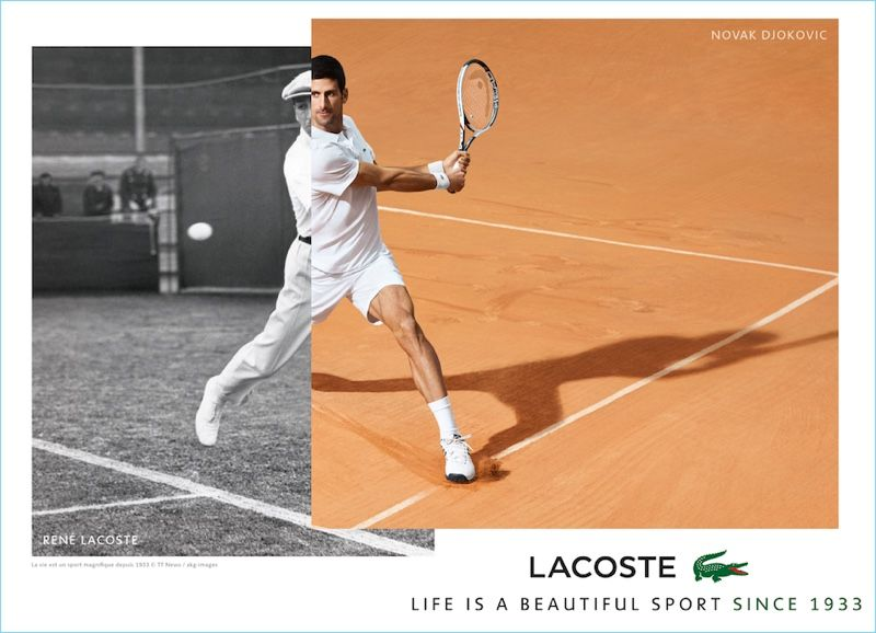 7994ac61bc49 Lacoste juxtaposes images of René Lacoste and Novak Djokovic for its new  campaign.