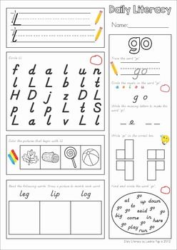 Daily Literacy Morning Work (Sight Words / Beginning Sounds ...