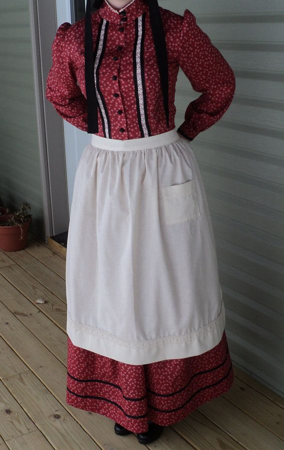 c3efd7f64fd Custom old fashioned cotton apron pioneer wild west Civil Colonial  Revolutionary War Victorian old-fashioned maid costumes (made to order)