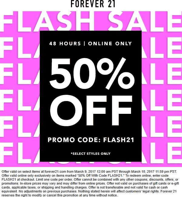 Pinned March 10th 50 Off Online Today At Forever21 Via Promo Code Flash21 Thecouponsapp Forever 21 Coupon Shopping Coupons Coupon Apps
