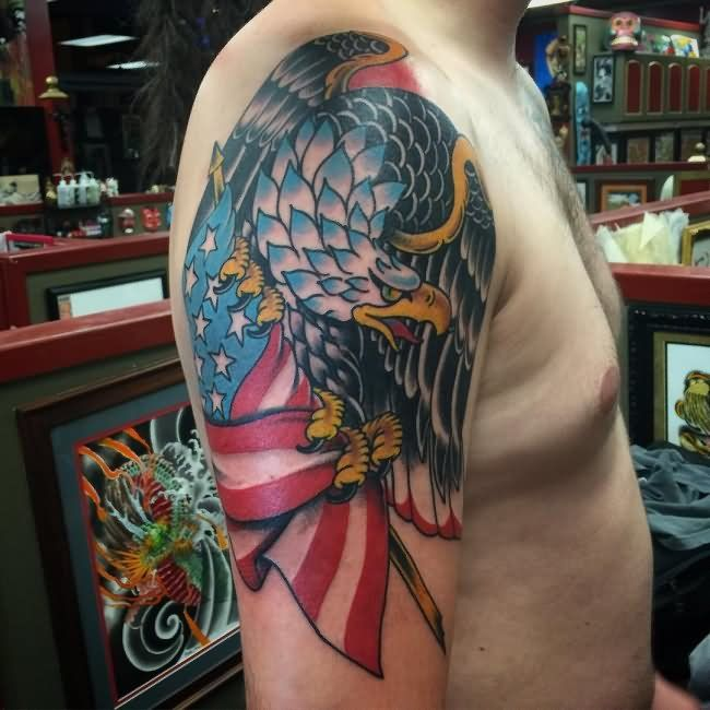 Pin On Tattoos Traditional Eagle And Flag