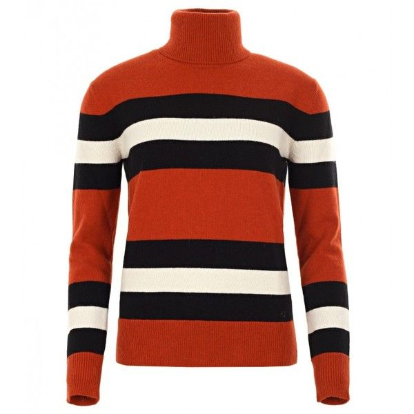 Gucci Striped Turtleneck Sweater ($840) ❤ liked on Polyvore featuring tops, sweaters, striped turtleneck, red striped top, stripe sweater, red turtleneck and vintage tops