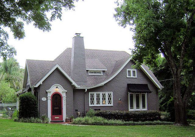 Grey tudor revival in 2019 new urbanism stucco homes - Tudor revival exterior paint colors ...