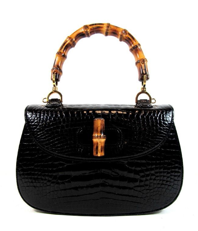 0972f77a Vintage Gucci Bamboo Top Handle Bag in black crocodile. There is something  special about having the sort of bag Ingrid Bergman carried back in the day.